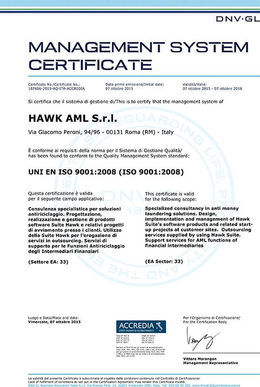 Quality System | Hawk – Anti Money Laundering
